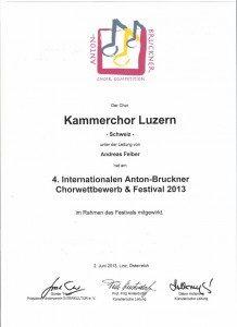 4. Internationaler Anton-Bruckner Chorwettbewerb Teilnahme