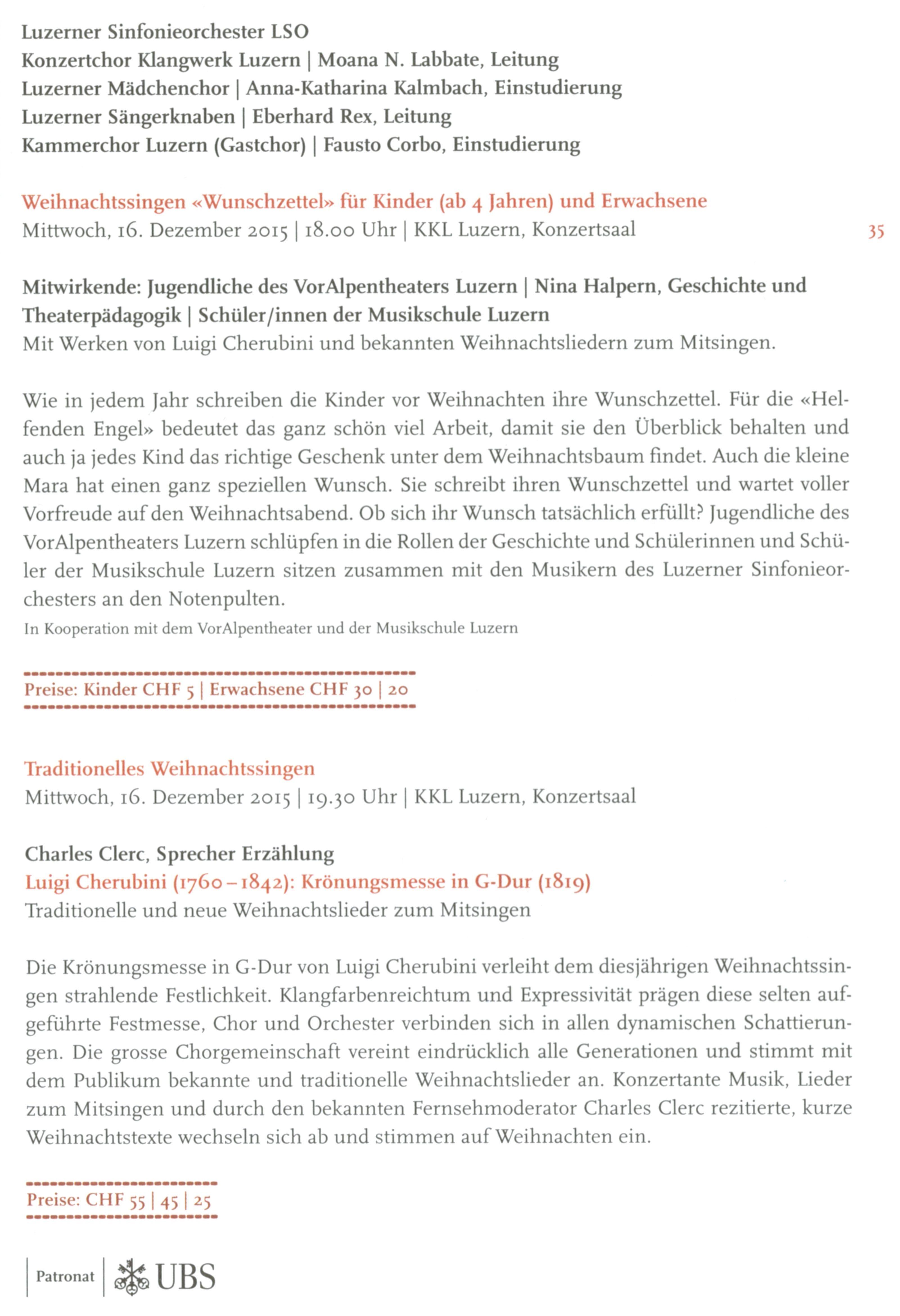 Cherubini zu Weihnachten | Kammerchor Luzern